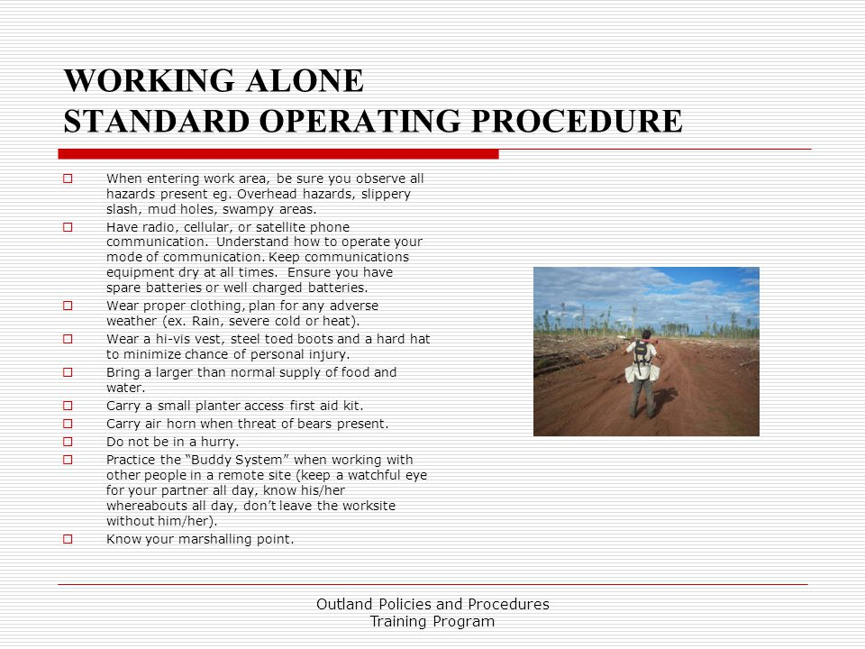 WORKING ALONE STANDARD OPERATING PROCEDURE