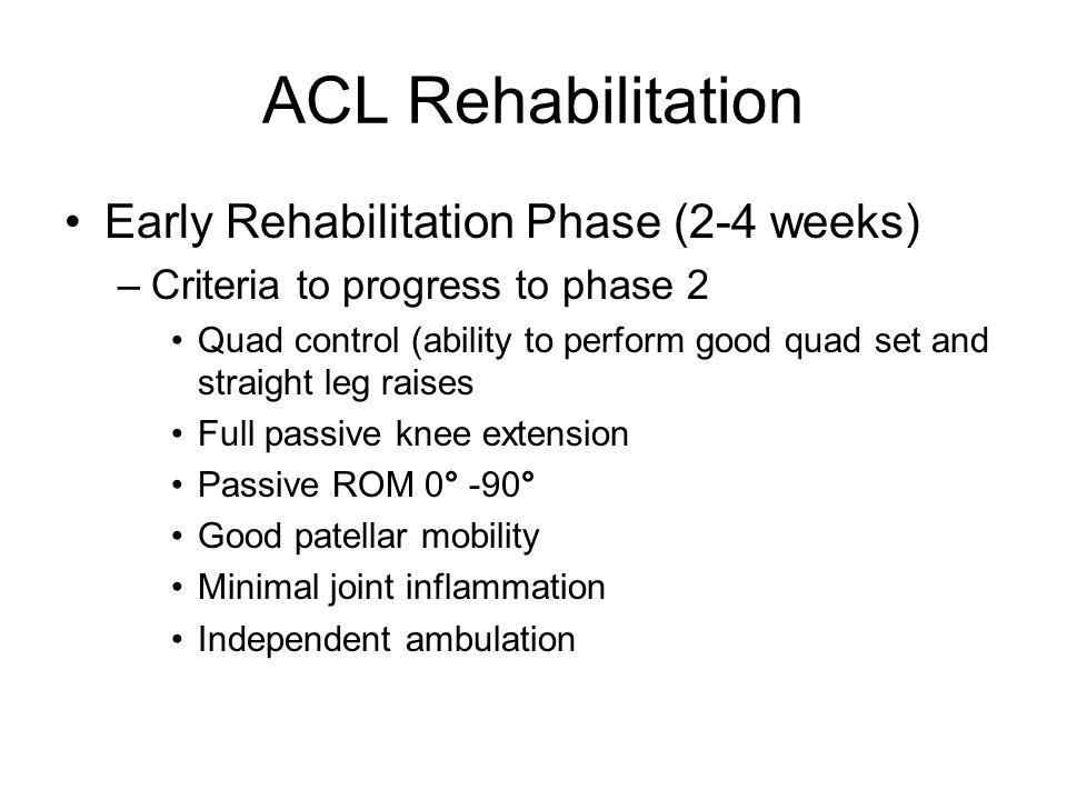 ACL Rehabilitation Early Rehabilitation Phase (2-4 weeks)
