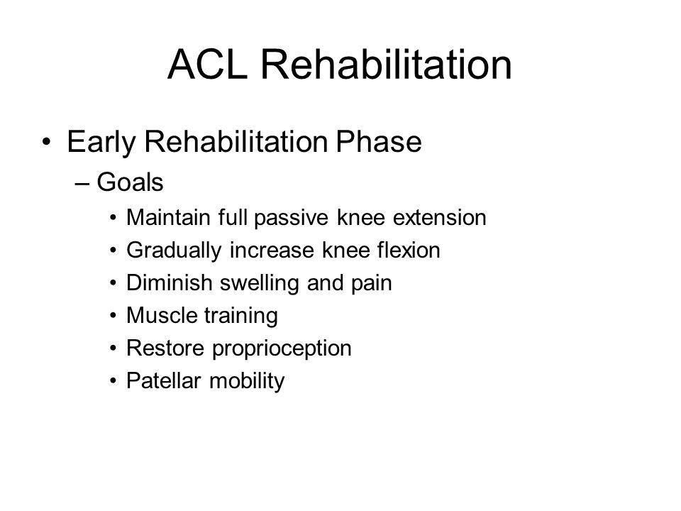 ACL Rehabilitation Early Rehabilitation Phase Goals