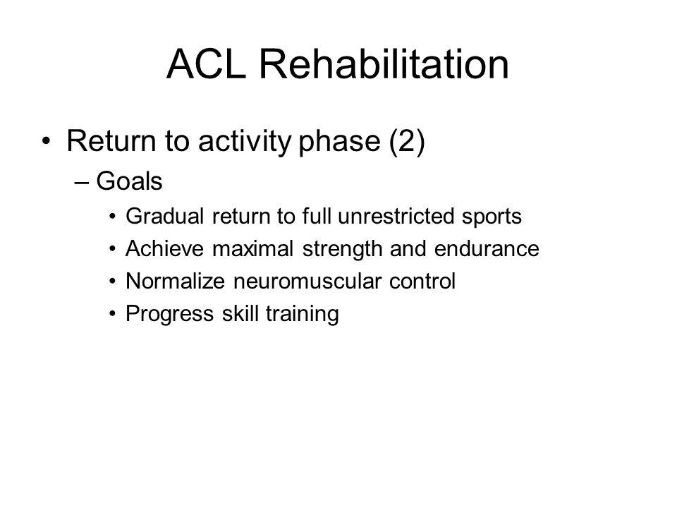 ACL Rehabilitation Return to activity phase (2) Goals