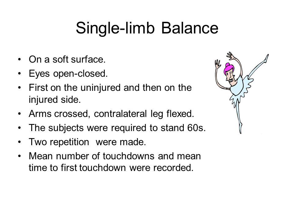 Single-limb Balance On a soft surface. Eyes open-closed.
