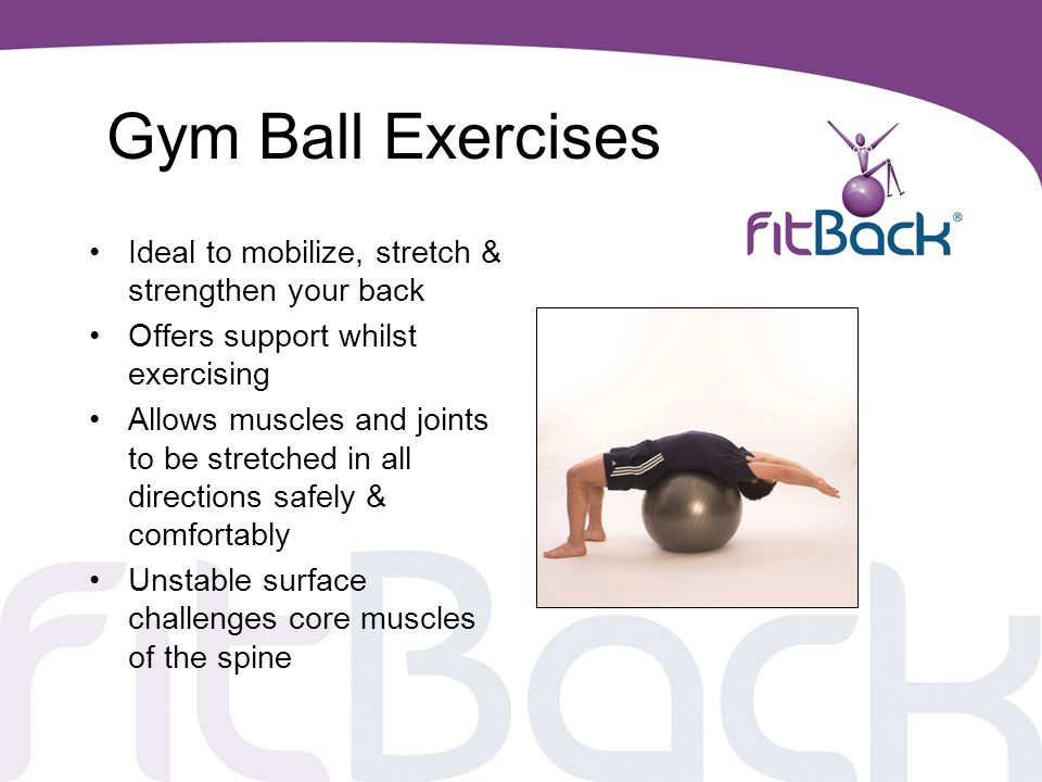 Gym Ball Exercises Ideal to mobilize, stretch & strengthen your back
