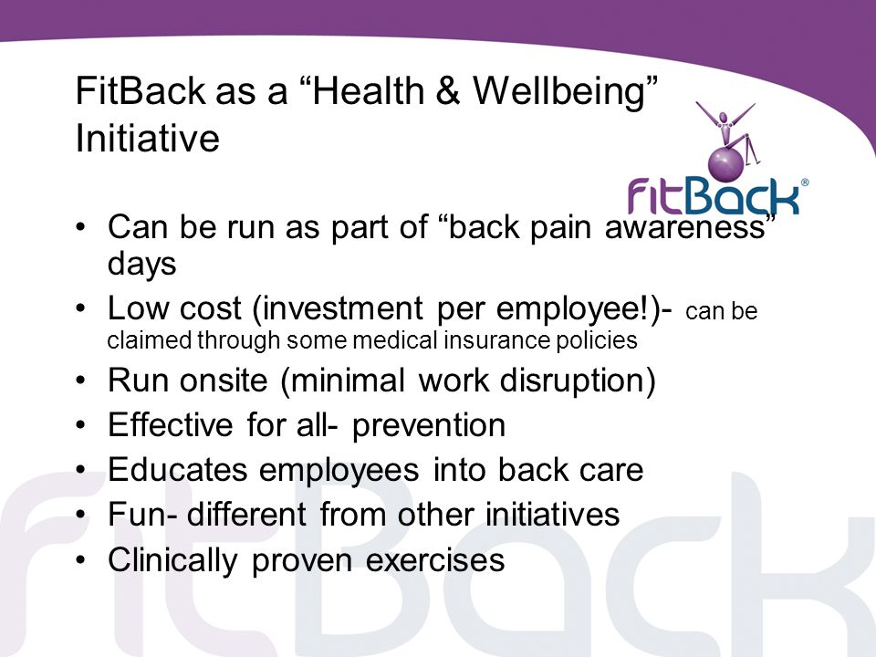 FitBack as a Health & Wellbeing Initiative
