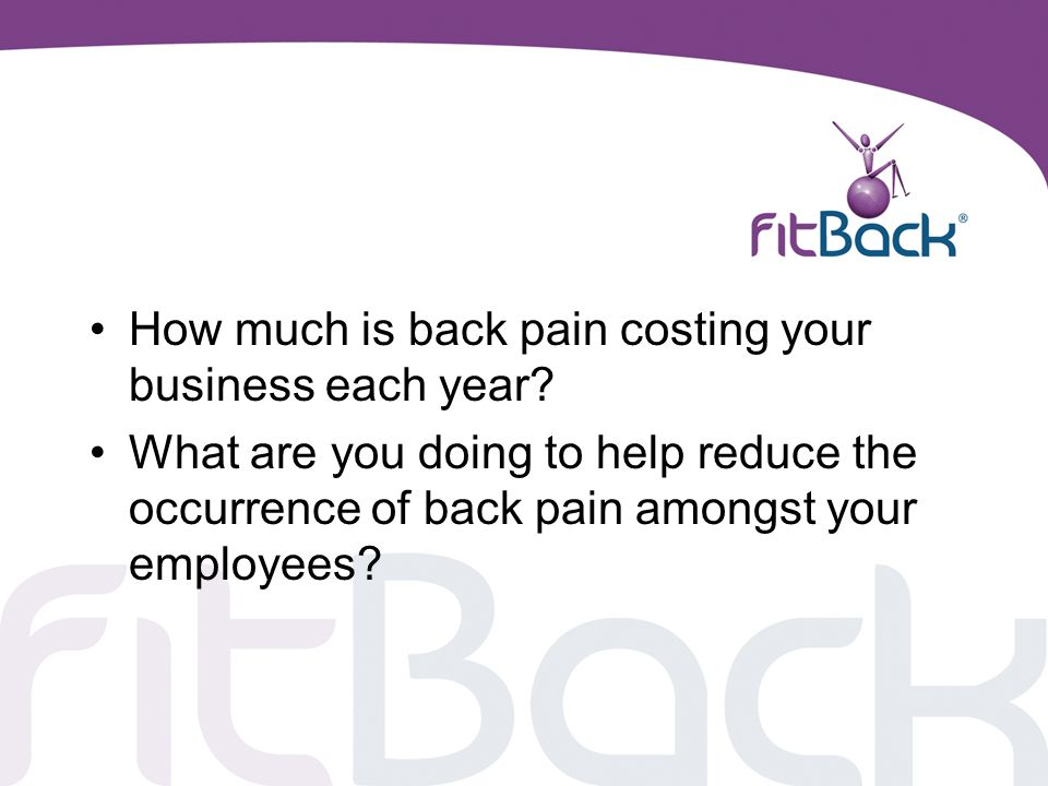 How much is back pain costing your business each year