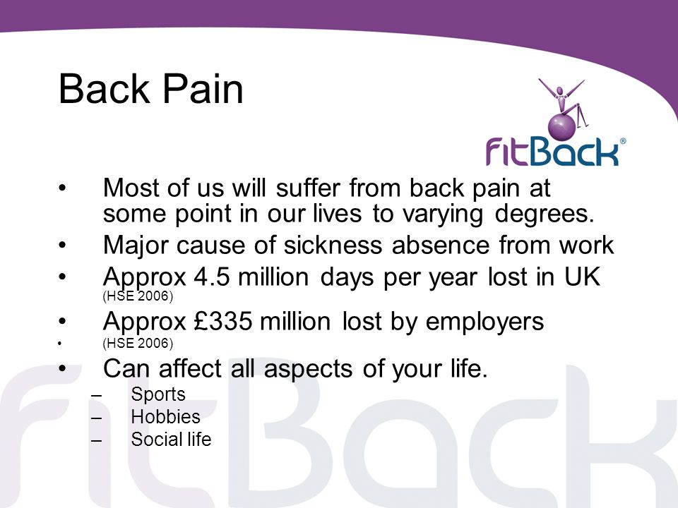 Back Pain Most of us will suffer from back pain at some point in our lives to varying degrees. Major cause of sickness absence from work.
