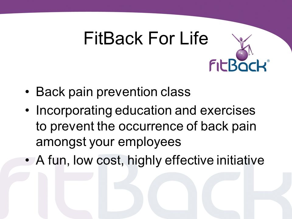 FitBack For Life Back pain prevention class