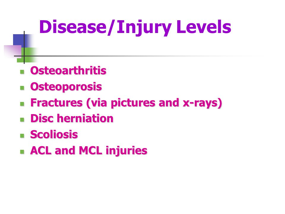 Disease/Injury Levels