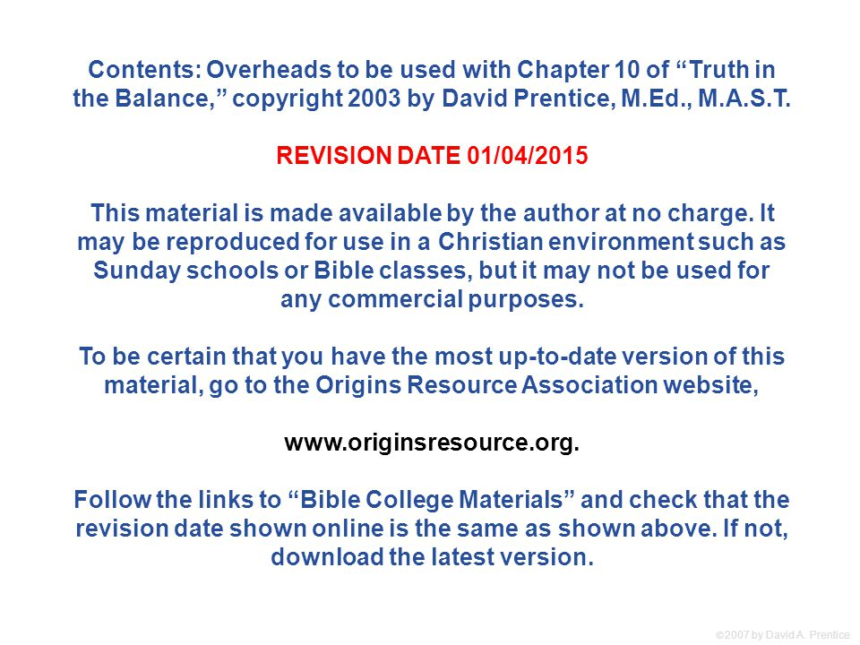 Contents: Overheads to be used with Chapter 10 of Truth in the Balance, copyright 2003 by David Prentice, M.Ed., M.A.S.T.
