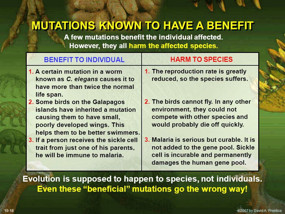MUTATIONS KNOWN TO HAVE A BENEFIT