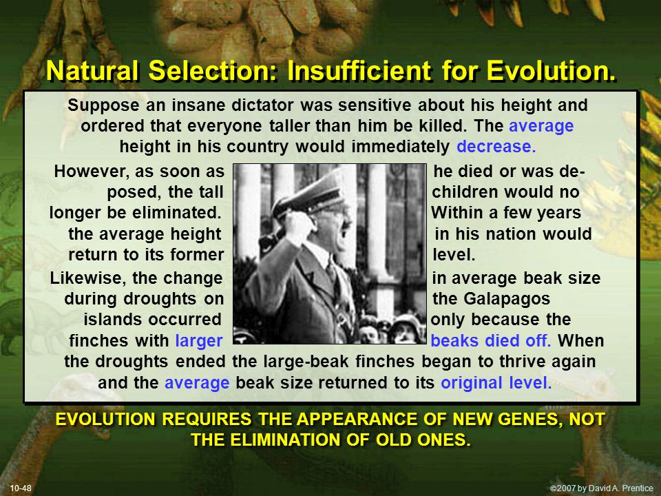 Natural Selection: Insufficient for Evolution.