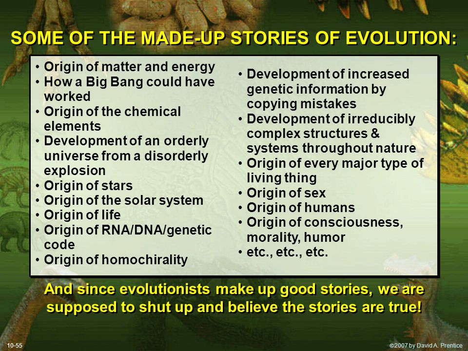 SOME OF THE MADE-UP STORIES OF EVOLUTION: