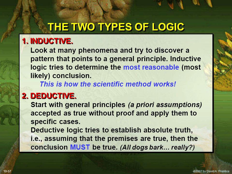 THE TWO TYPES OF LOGIC 1. INDUCTIVE. 2. DEDUCTIVE.