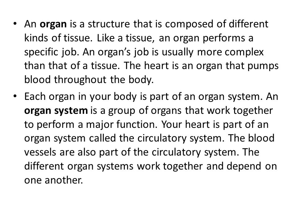 An organ is a structure that is composed of different kinds of tissue