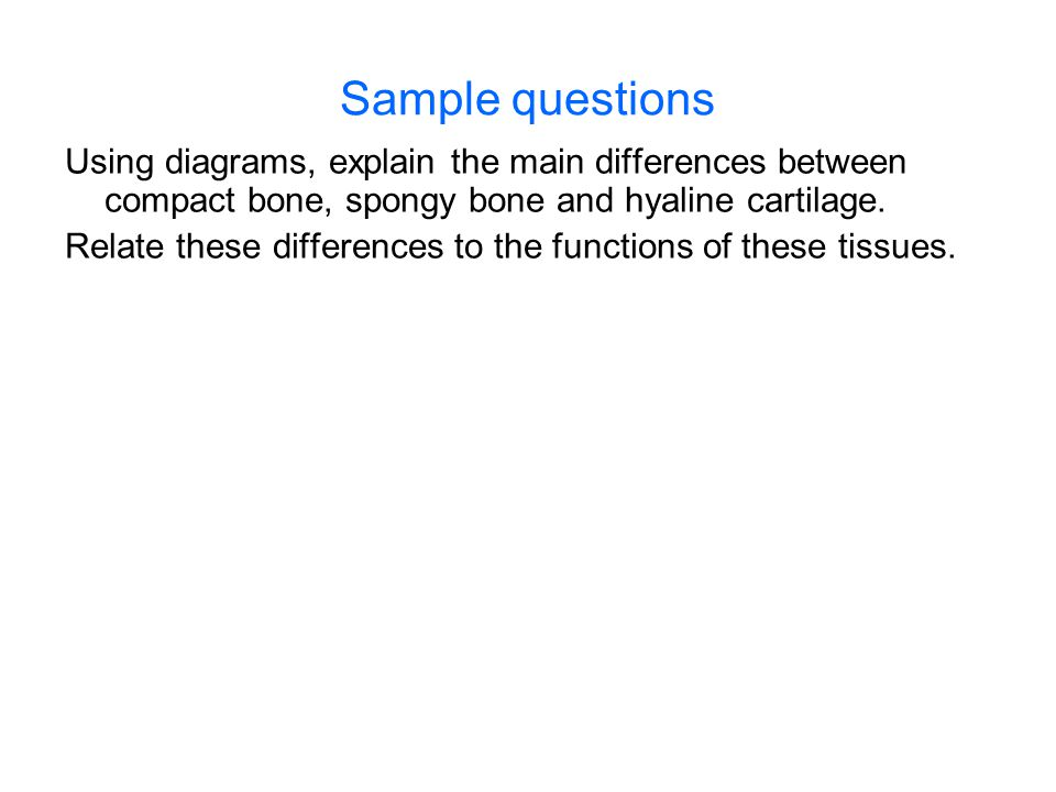 Sample questions Using diagrams, explain the main differences between compact bone, spongy bone and hyaline cartilage.