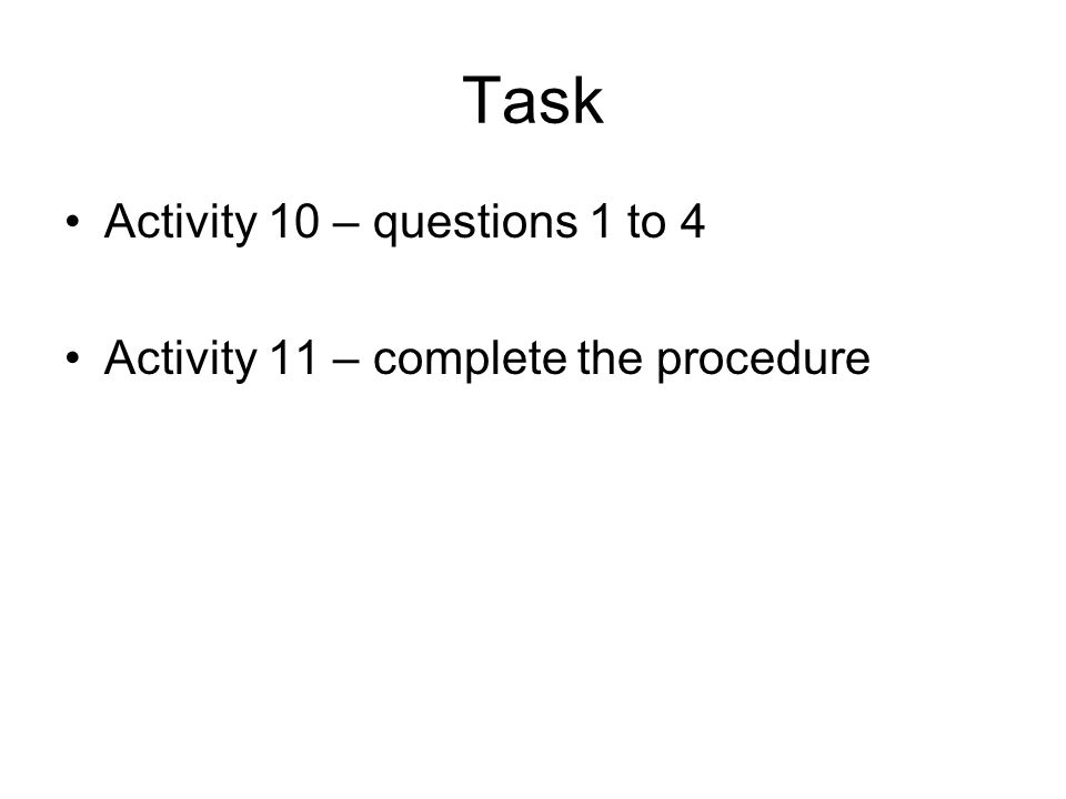 Task Activity 10 – questions 1 to 4