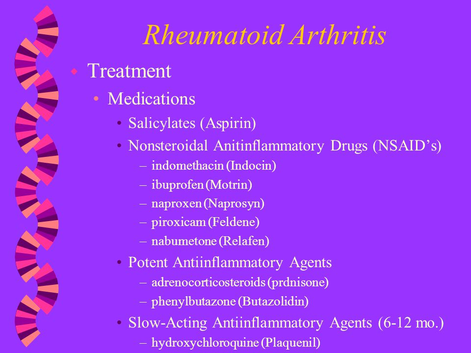 Rheumatoid Arthritis Treatment Medications Salicylates (Aspirin)