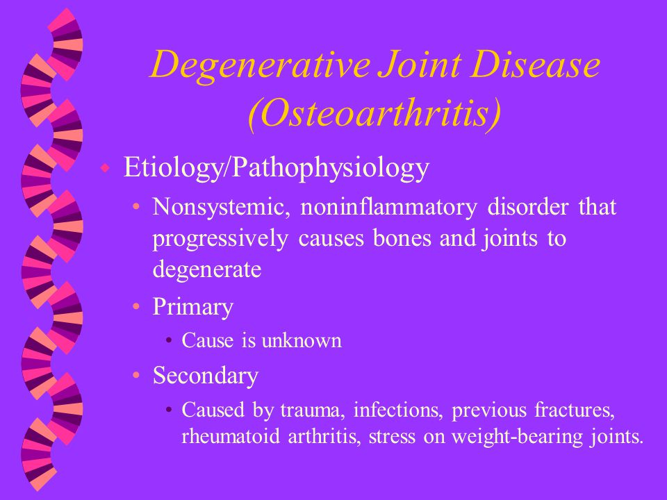 degenerative joint disease or osteo arthritis nursing essay Degenerative arthropathy – what's the most common joint disease – osteoarthritis (oa) is the most common joint disease in the world.