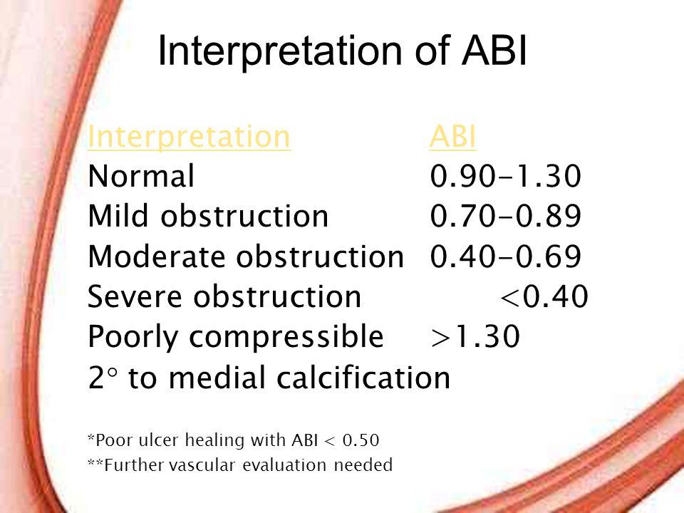 Interpretation of ABI Interpretation ABI Normal 0.90-1.30