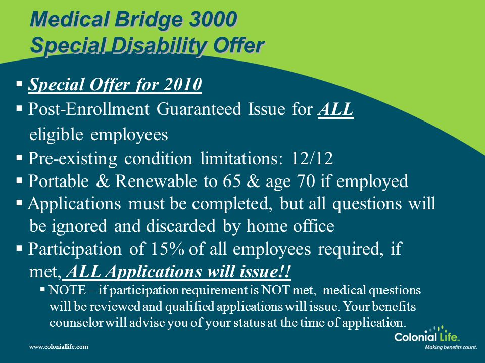 Medical Bridge 3000 Special Disability Offer