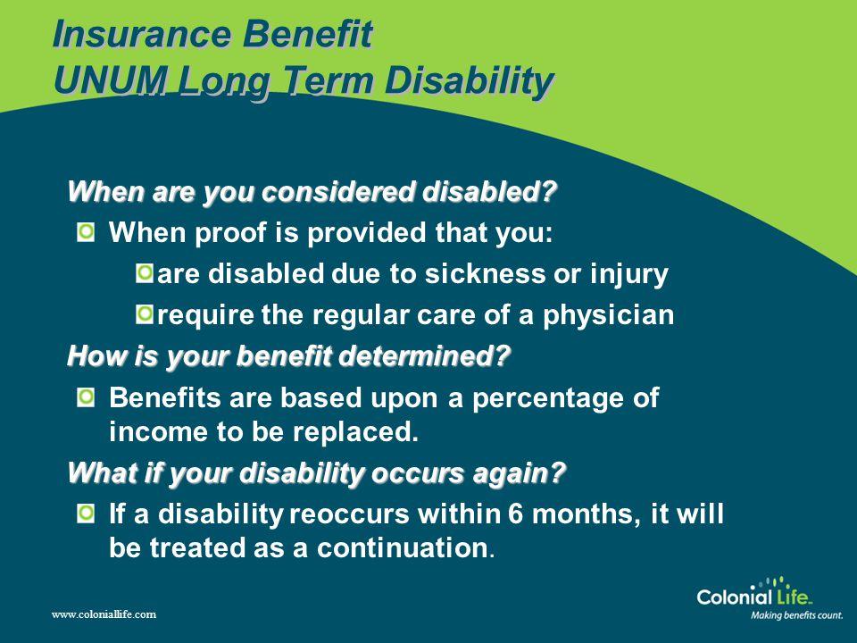 Insurance Benefit UNUM Long Term Disability