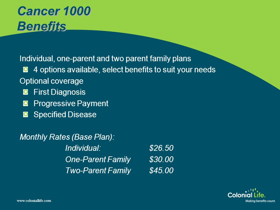 Cancer 1000 Benefits Individual, one-parent and two parent family plans. 4 options available, select benefits to suit your needs.