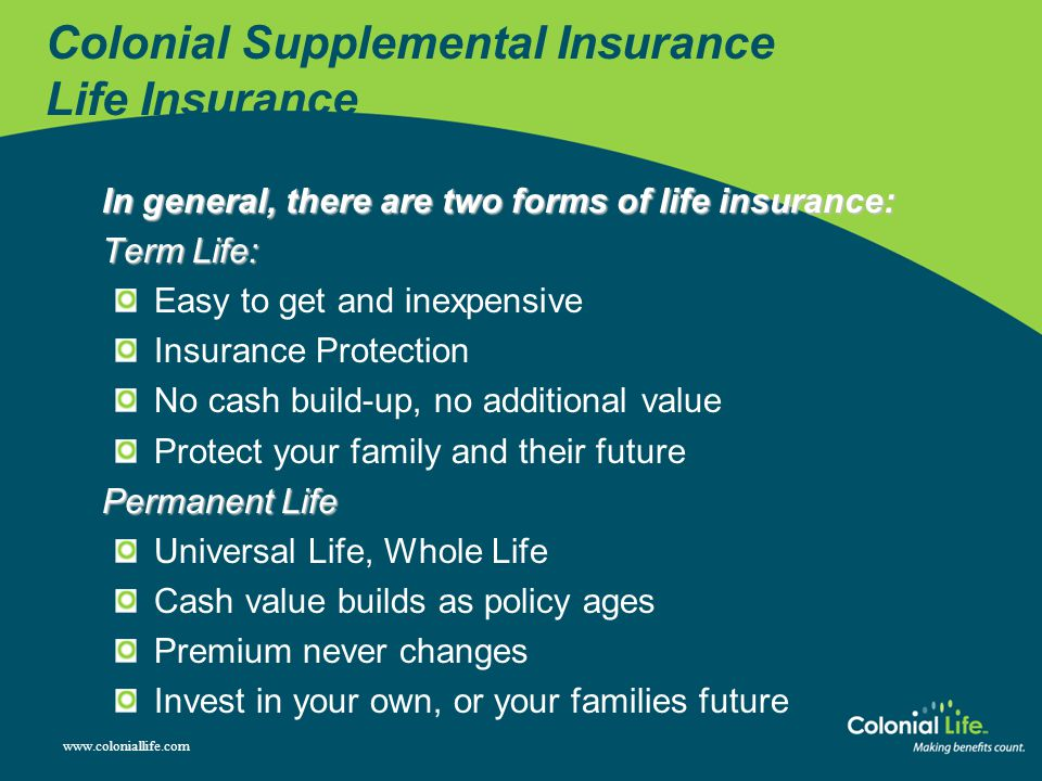 Colonial Supplemental Insurance Life Insurance