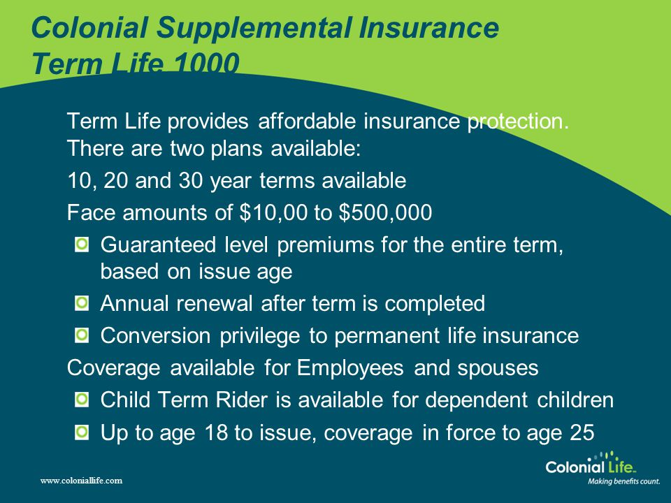 Colonial Supplemental Insurance Term Life 1000