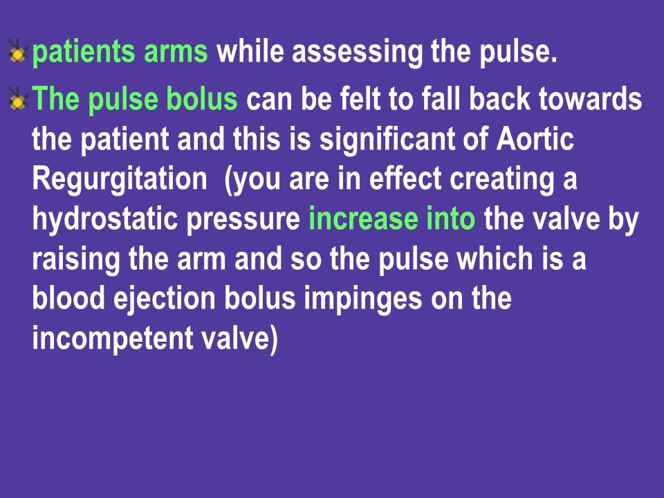 patients arms while assessing the pulse.