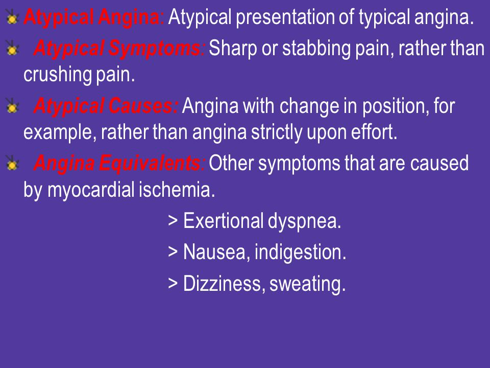 Atypical Angina: Atypical presentation of typical angina.