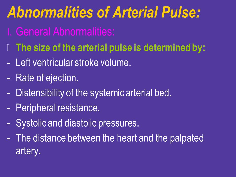 Abnormalities of Arterial Pulse: