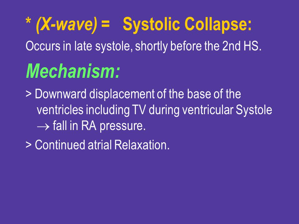 Mechanism: * (X-wave) = Systolic Collapse:
