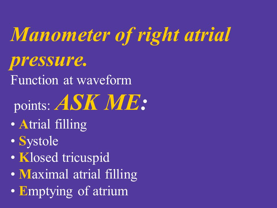 Manometer of right atrial pressure.