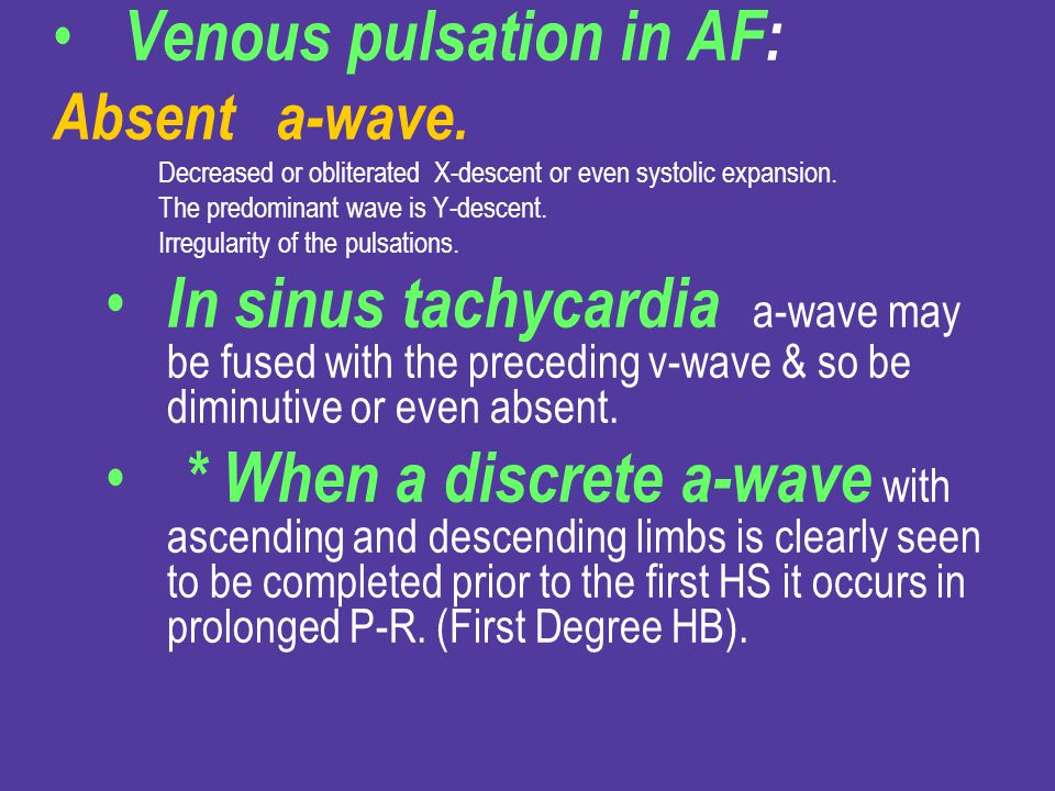 Venous pulsation in AF: