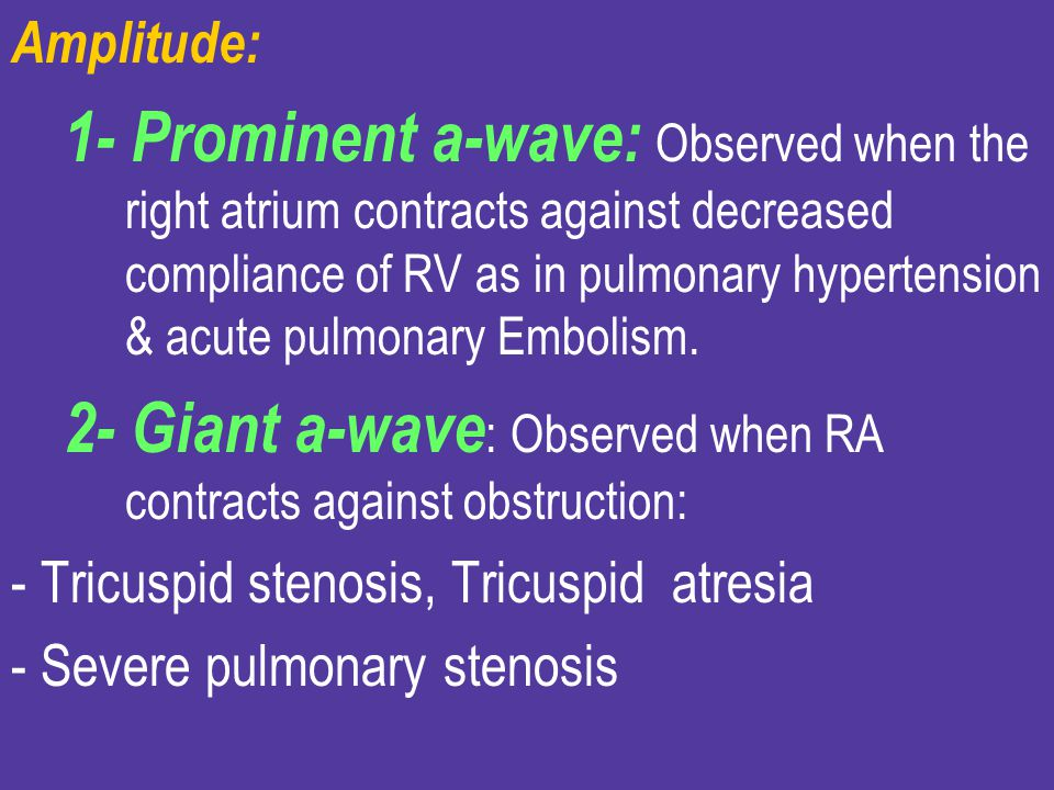 2- Giant a-wave: Observed when RA contracts against obstruction: