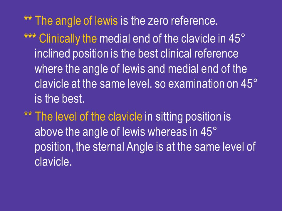 ** The angle of lewis is the zero reference.