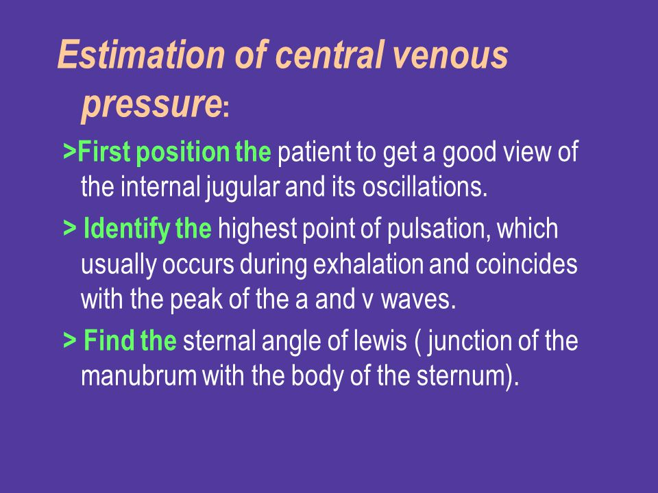 Estimation of central venous pressure: