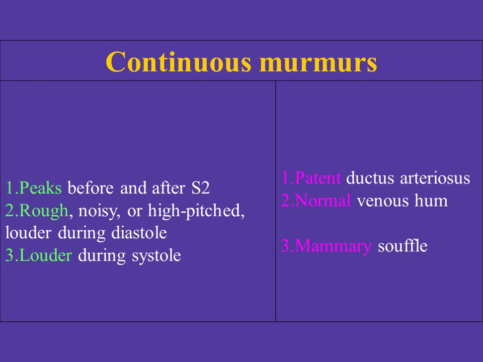 Continuous murmurs Patent ductus arteriosus Peaks before and after S2