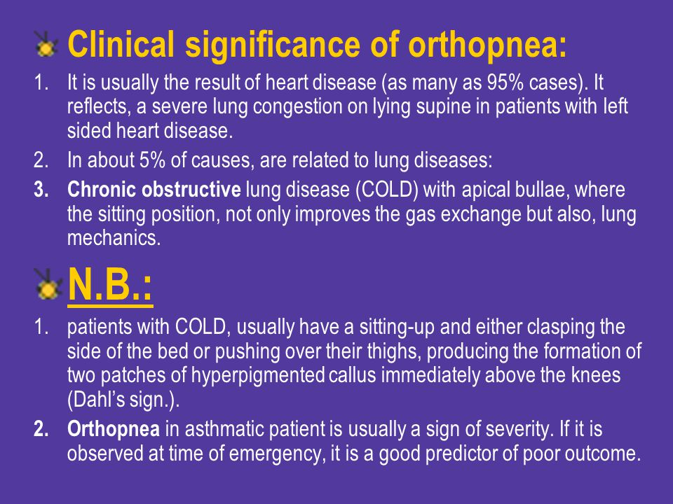 N.B.: Clinical significance of orthopnea: