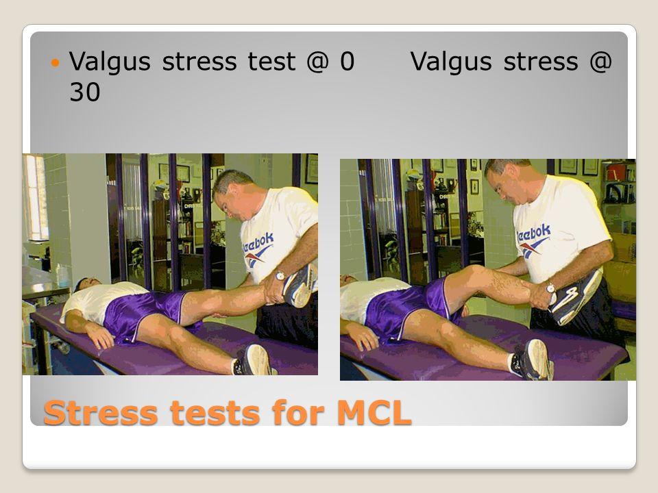 Valgus stress test @ 0 Valgus stress @ 30