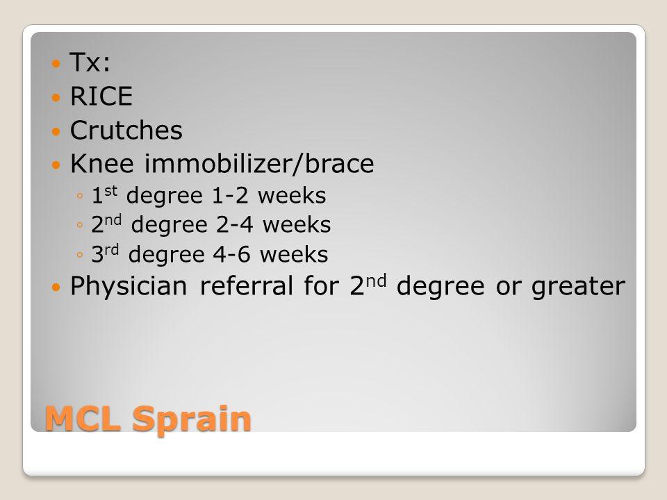 MCL Sprain Tx: RICE Crutches Knee immobilizer/brace