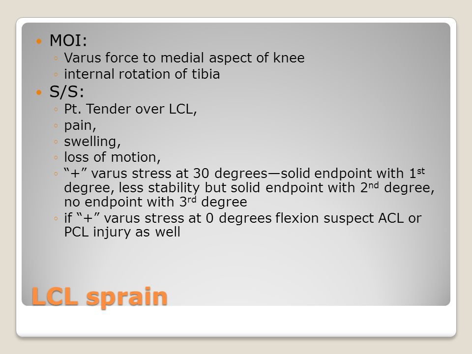 LCL sprain MOI: S/S: Varus force to medial aspect of knee