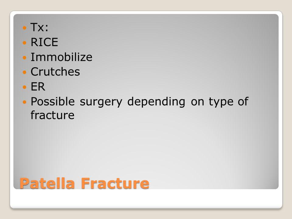 Patella Fracture Tx: RICE Immobilize Crutches ER