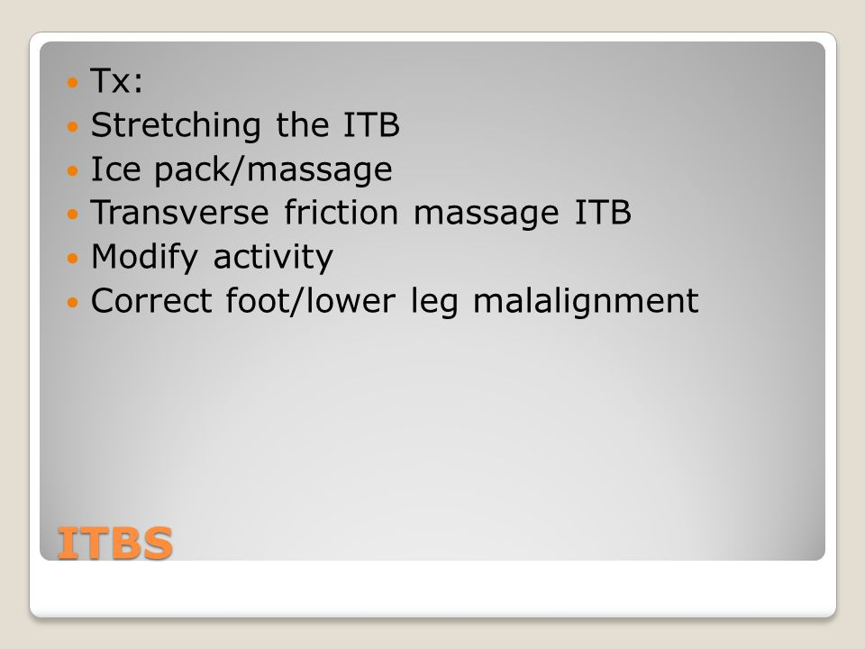 ITBS Tx: Stretching the ITB Ice pack/massage