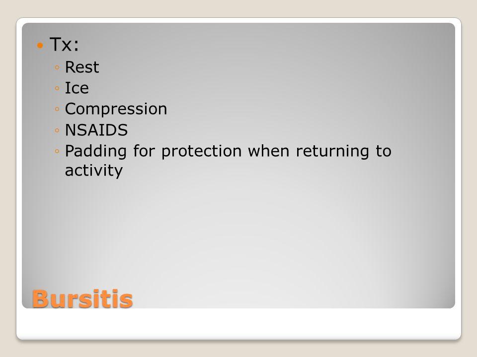 Bursitis Tx: Rest Ice Compression NSAIDS