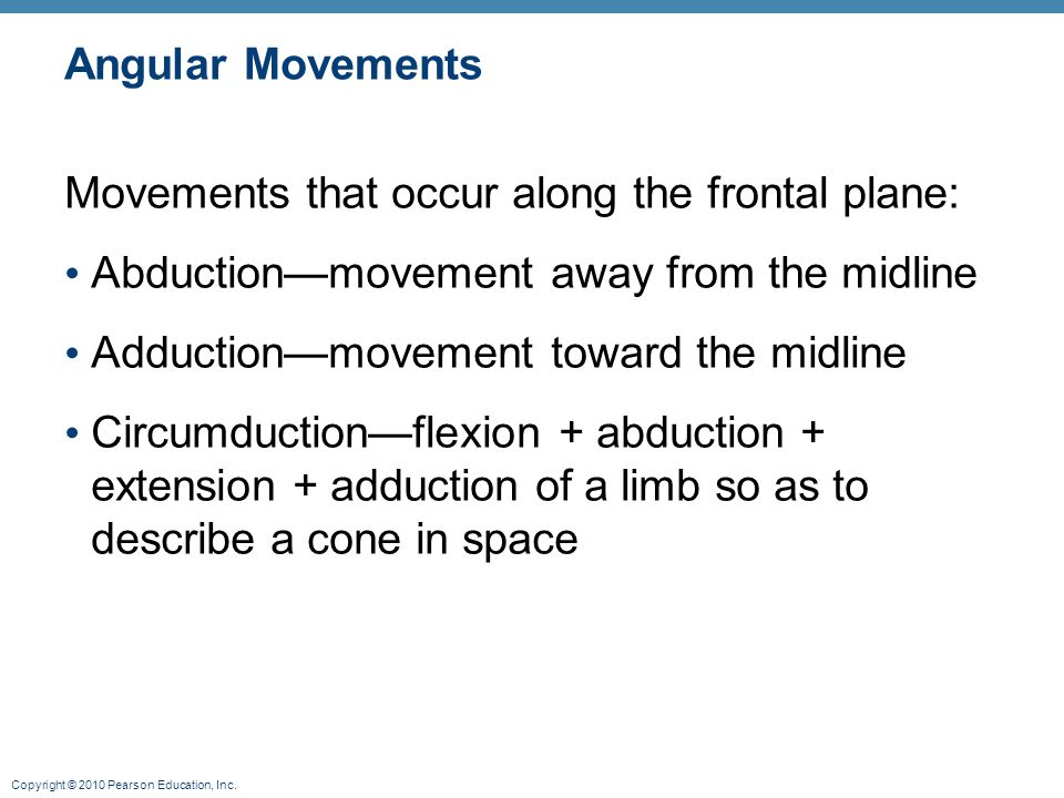 Angular Movements Movements that occur along the frontal plane: Abduction—movement away from the midline.