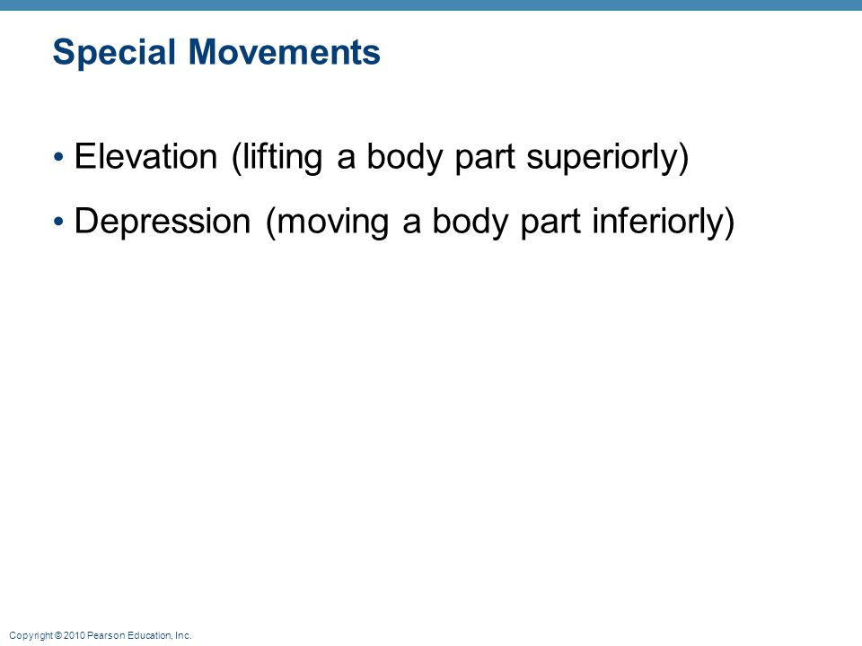 Special Movements Elevation (lifting a body part superiorly) Depression (moving a body part inferiorly)