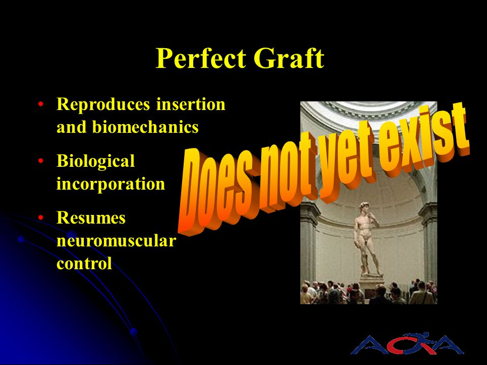 Does not yet exist Perfect Graft Reproduces insertion and biomechanics