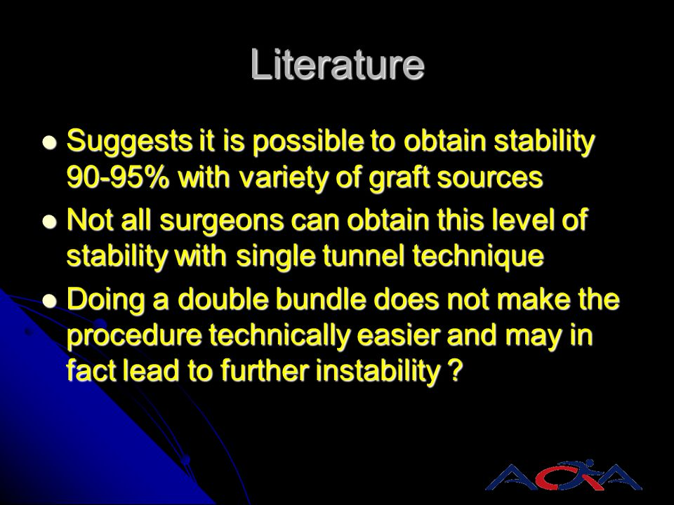 Literature Suggests it is possible to obtain stability 90-95% with variety of graft sources.