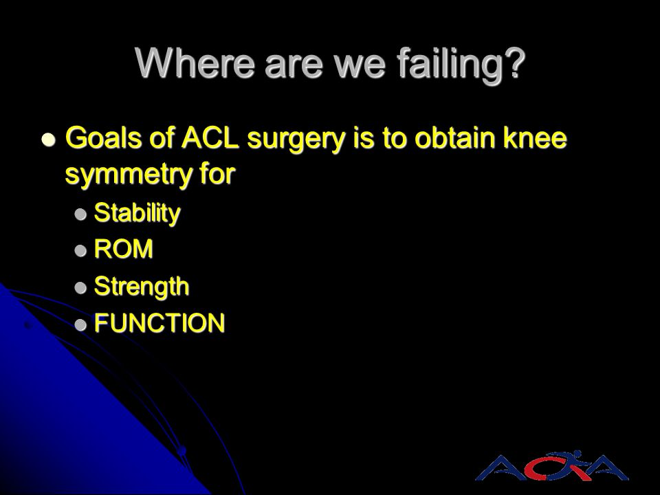 Where are we failing Goals of ACL surgery is to obtain knee symmetry for. Stability. ROM. Strength.