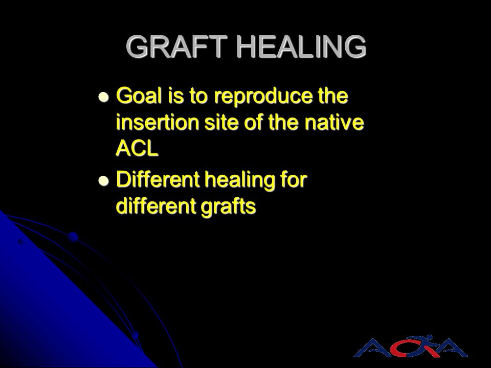 GRAFT HEALING Goal is to reproduce the insertion site of the native ACL.